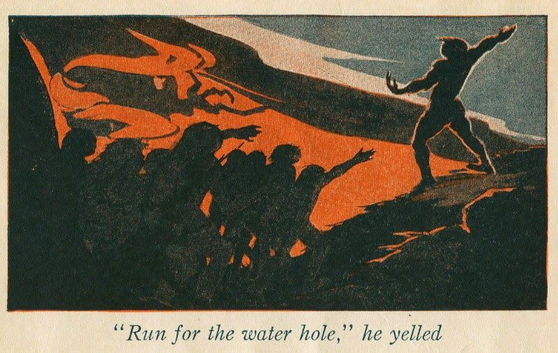 1929 Grace May Betts illustration from the book The Story of Man Book II: Fleetfoot--The Cave Boy by William L. Nida. Illustrator is also known as Gay Betts. 1920s.