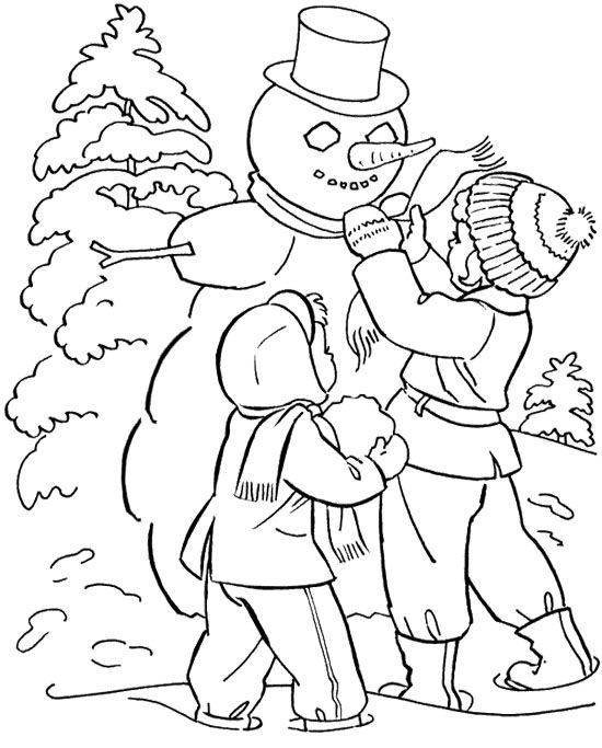 the child make a snowman winter coloring page - Free Winter Coloring Pages