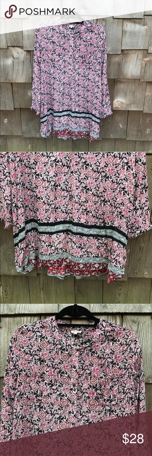 En Creme Red Floral Long Sleeve Swing Dress Boho