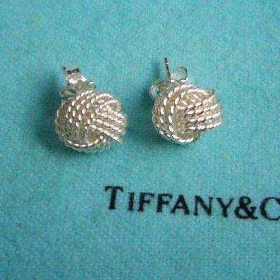 TIFFANY & CO Silver Somerset Knot earrings