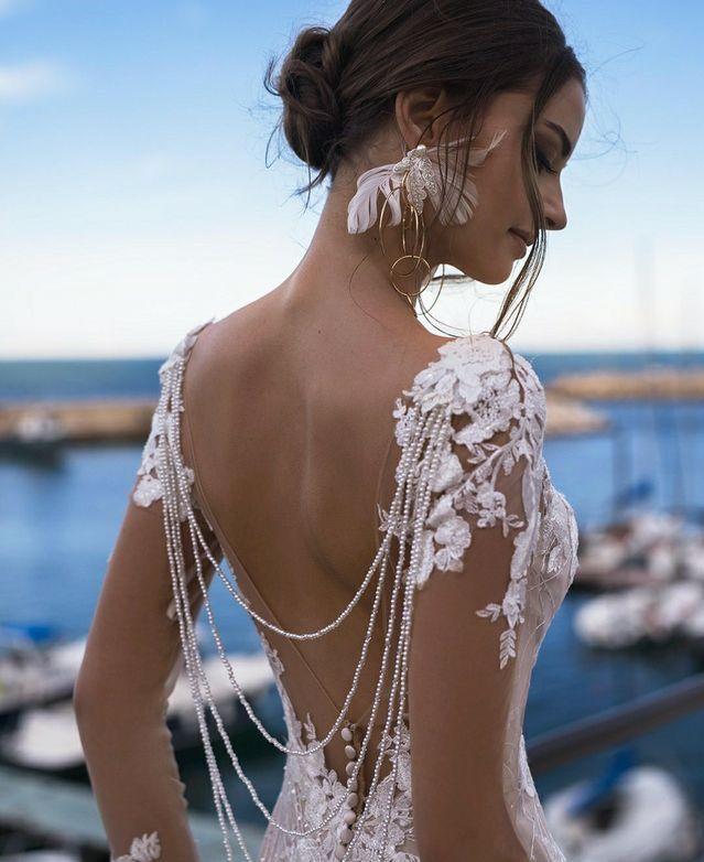 Boho wedding maxi dress crochet deep v plunge mermaid slit gipsy lace hippie wedding goddess Pitbull Timber Dress