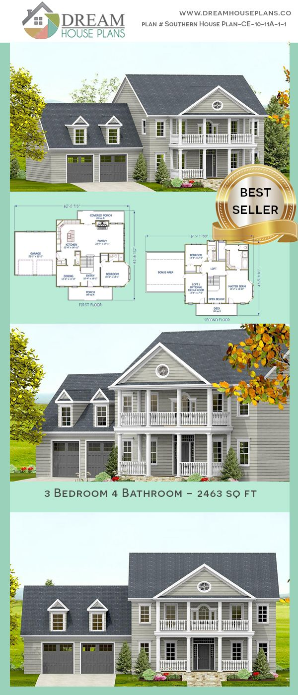 3 Bedroom 4 Bathroom 2463 Sq Ft Southern House Plan Ce