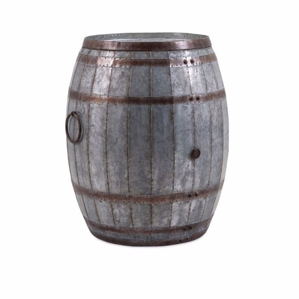 Vineyard Wine Barrel Storage Metal Accent Table With