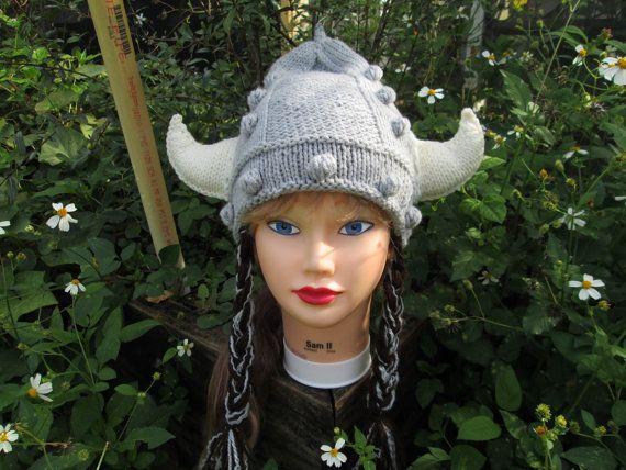 Womens viking hat Viking Helmet knitted viking hat by Ritaknitsall ... 207c3c1350