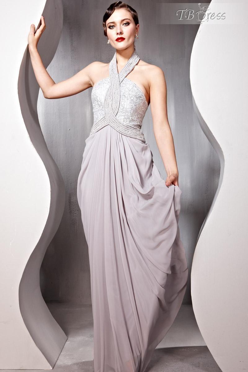 Unique aline halter floorlength evening party dress the gown