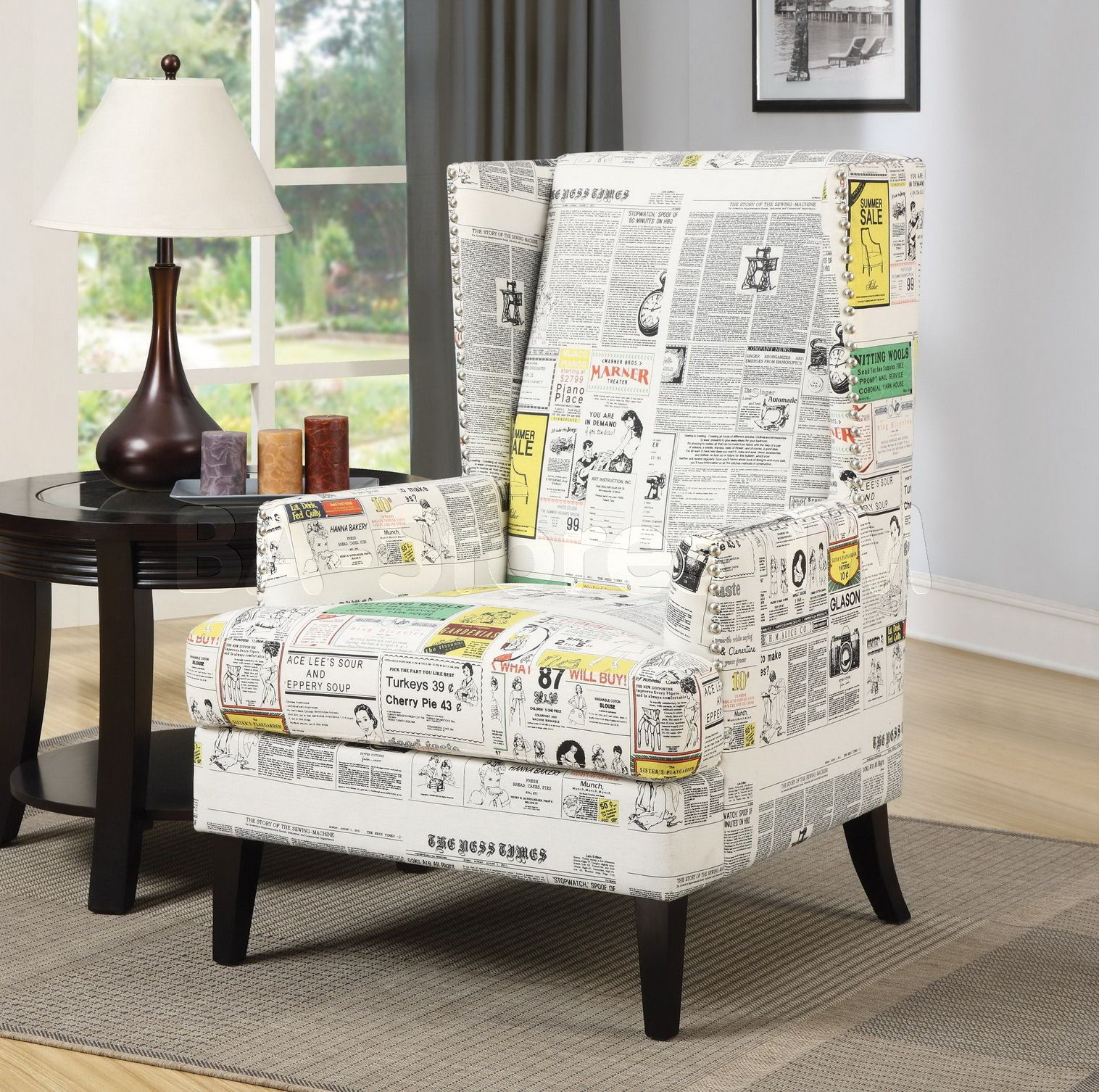 white newspaper print wing accent chair