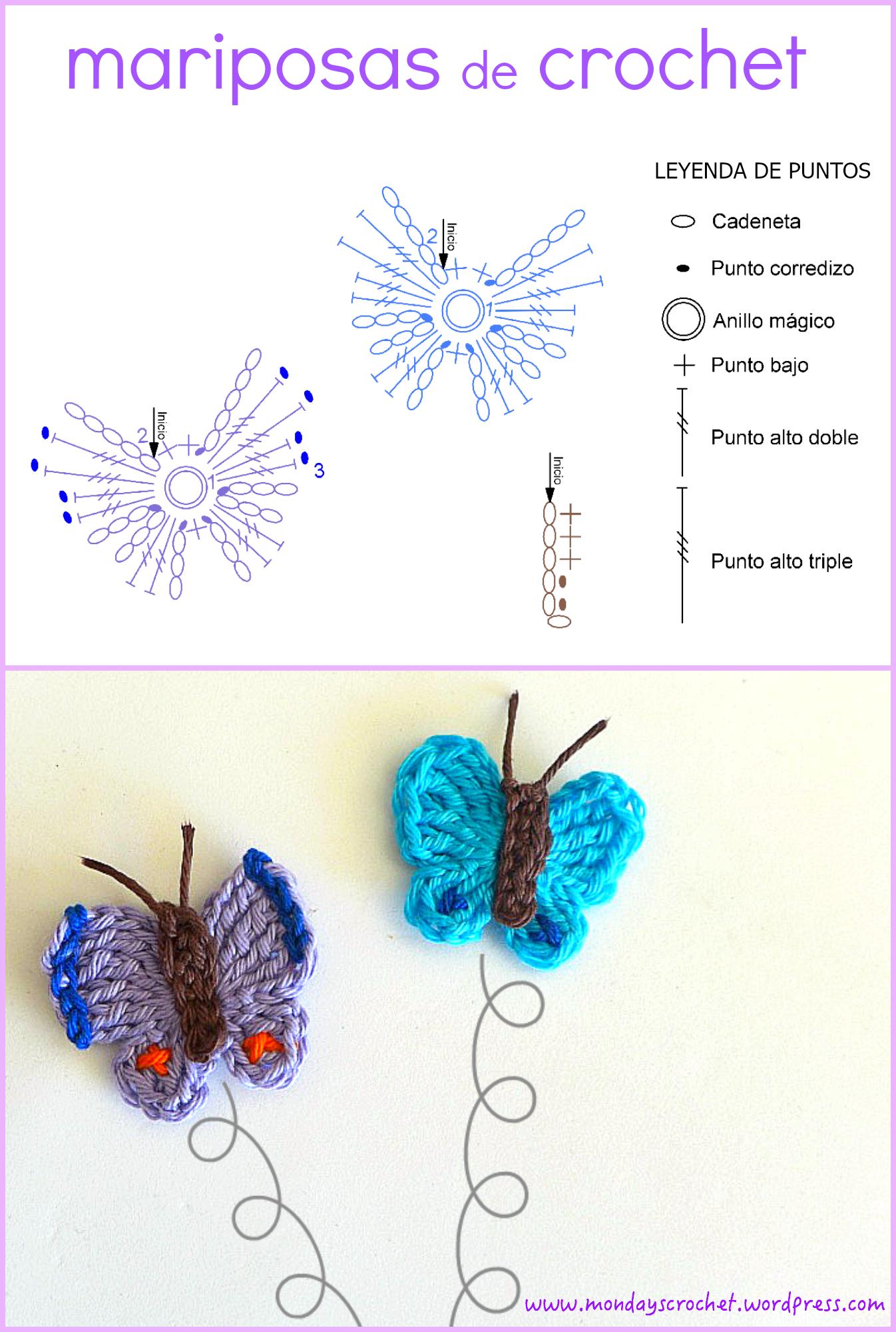 Mariposas de crochet. Patrón gratuito | Diagramas de crochet ...