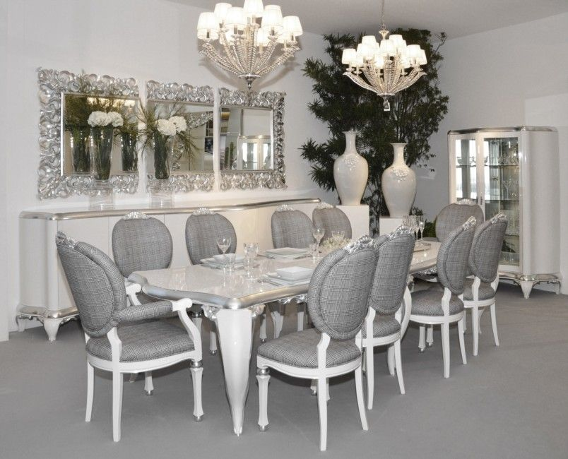 The Modern Glamour Collection White Lacquered Dining Table And Chairs Hand Carved From Solid Wood With Subtle Details Finished In Silver Leaf