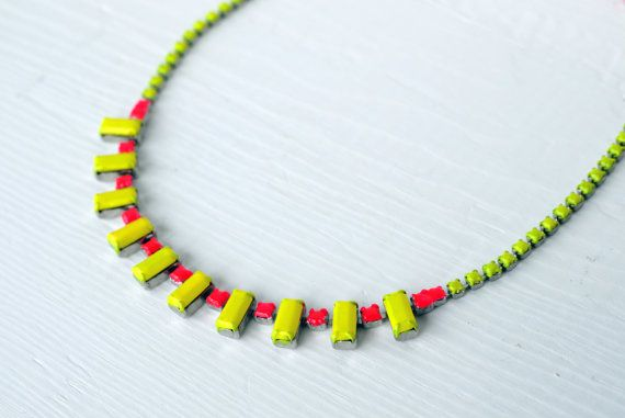 vibrant neon yellow and coral red colored hand painted vintage rhinestone necklace on Etsy, $32.00