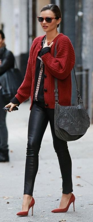 Casual with a chunky knit cardigan jacket ... Can dress it down with boots - Love the colour