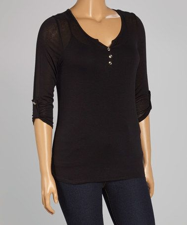 Look what I found on #zulily! Black Roll-Tab Henley - Plus #zulilyfinds