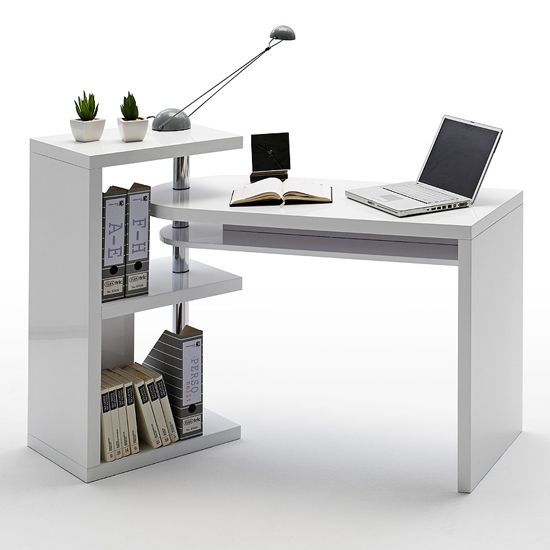 Finished in stylish high gloss white the sydney office rotating desk is a magnificent piece of - White corner office desk ...
