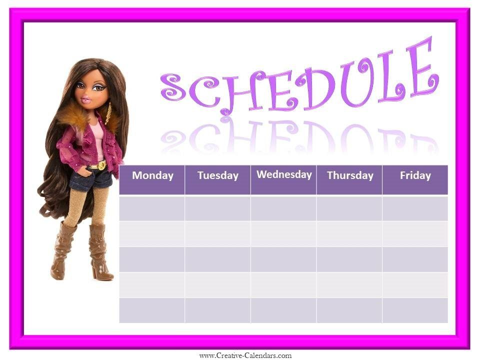 weekly schedule template with a picture of Bratz journal ideas