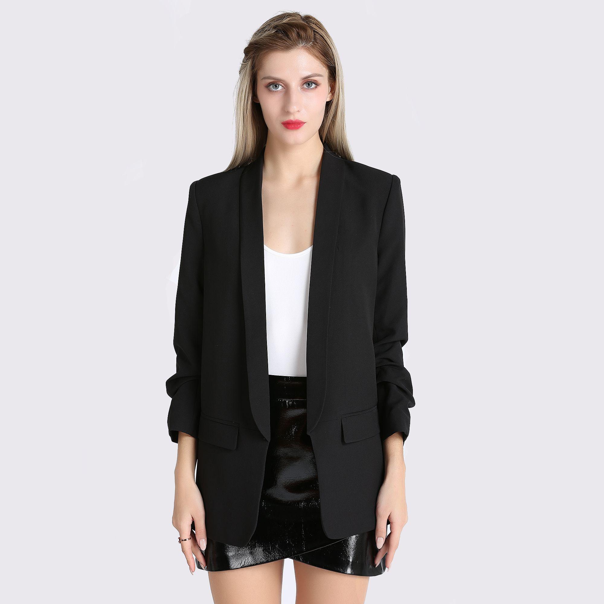 17a346e117 Fashion Autumn Women Blazers and Jackets Work Office Lady Suit Slim White  Black None Button Business female blazer Coat Zevrez  Women  Beauty   Fashion ...