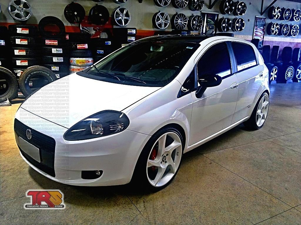 Fiat punto branco rebaixado rodas aro dub branco p rola lowered white fiat punto with pearl white dub rims