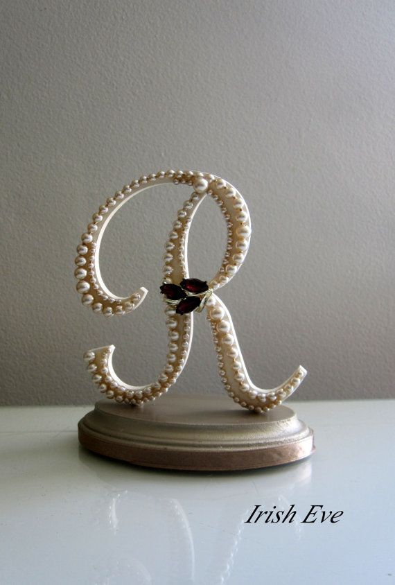 Wedding Cake Topper & Display : Monogram Letter R in Champagne Pearls and Eggplant Rhinestone Brooch for Rustic or Vintage Wedding