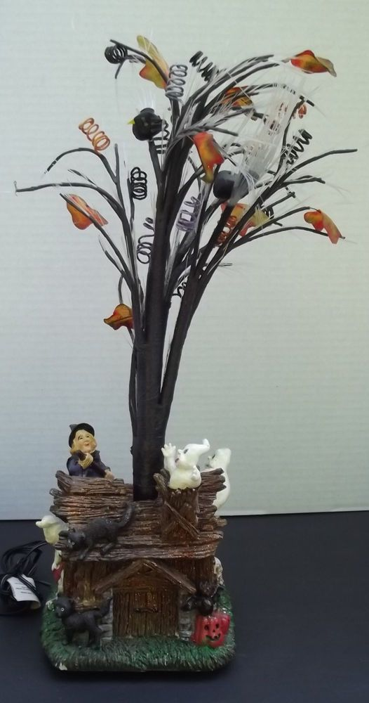 Halloween haunted house with fiber optic light up tree for Fiber optic halloween decorations home