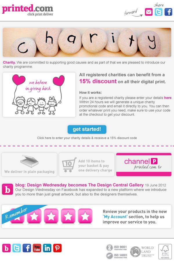 All registered charities get a 15% discount with printed.com... http://www.printed.com/charity