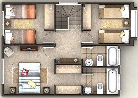 Plano de casa de 200 m2 en dos plantas planos for Planos de casas pequenas en 3d