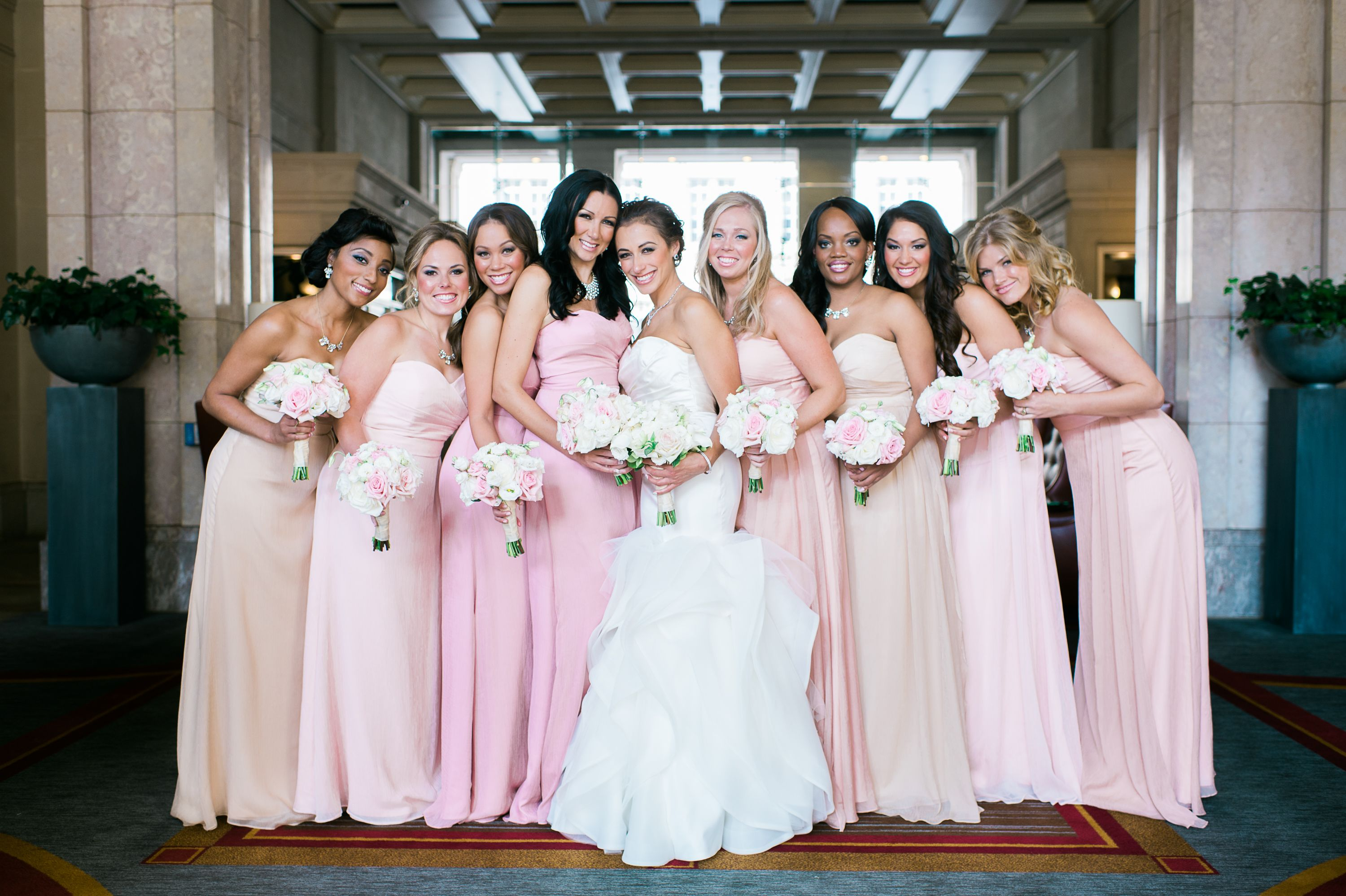 Floor length bridesmaid dresses in shades of pink wedding theme floor length bridesmaid dresses in shades of pink ombrellifo Image collections