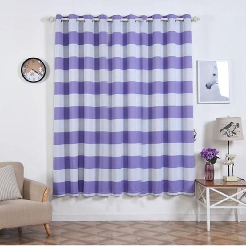 Cabana Stripe Curtains Pack Of 2 White Lavender Blackout