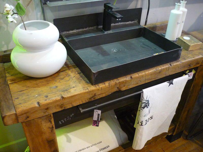 Etabli lavabo sdb en 2019 pinterest - Petit meuble lavabo ...