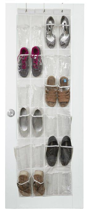 Vinyl Over The Door Shoe Organizer With 24 Reinforced Pockets. Organize  Your Shoes With This Shoe Rack Over The Door Organizer And Save Space.