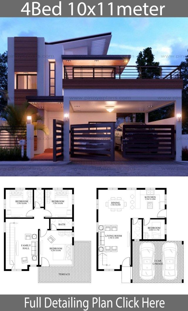Modern Home Design 10x11m With 4 Bedrooms Home Ideassearch Bungalow House Design Duplex House Design 2 Storey House Design