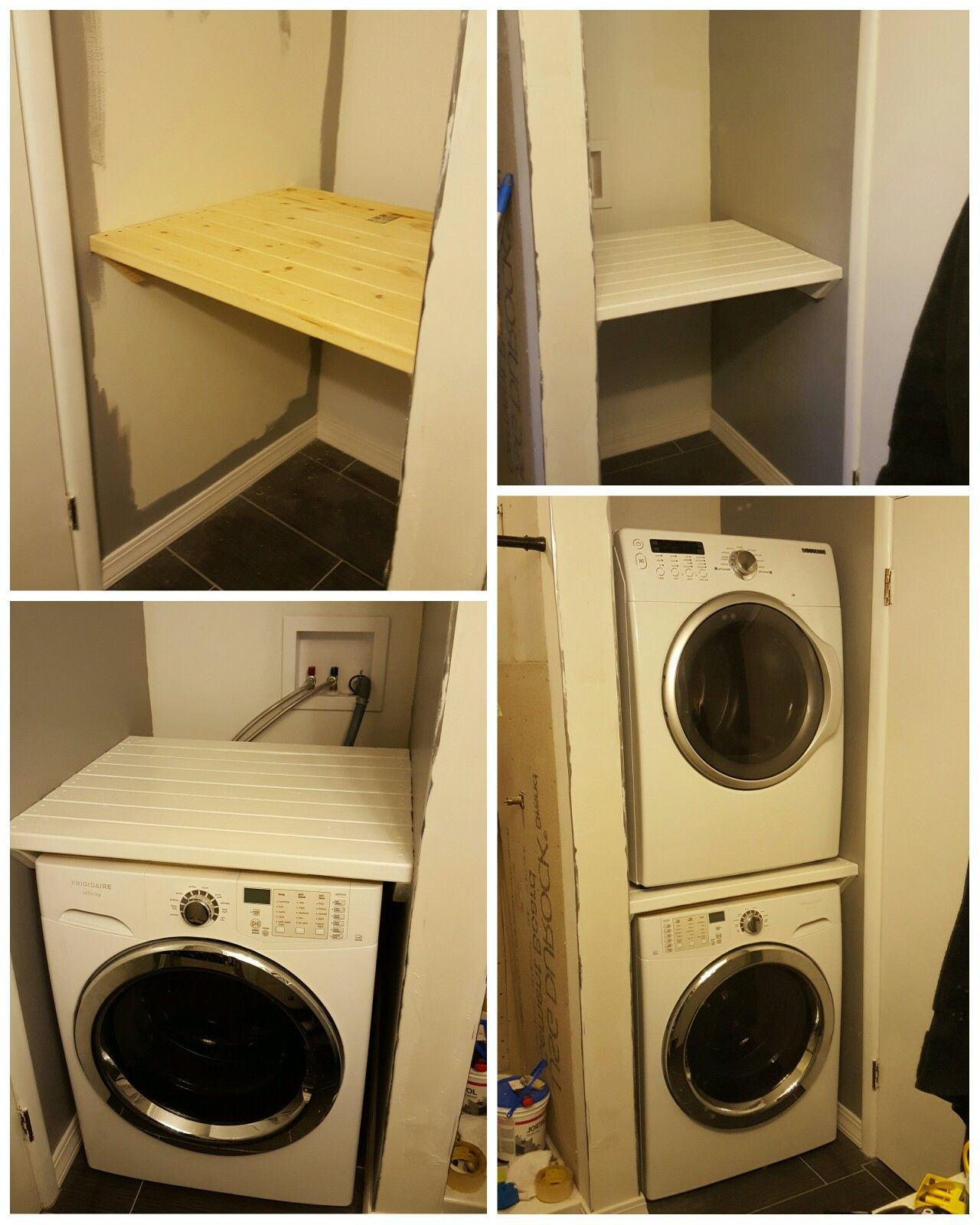 Stacking Different Model Washer And Dryer Built Shelf From 2x4 S Laundry Room Storage Washer Dryer Laundry Room Laundry Room Storage Shelves