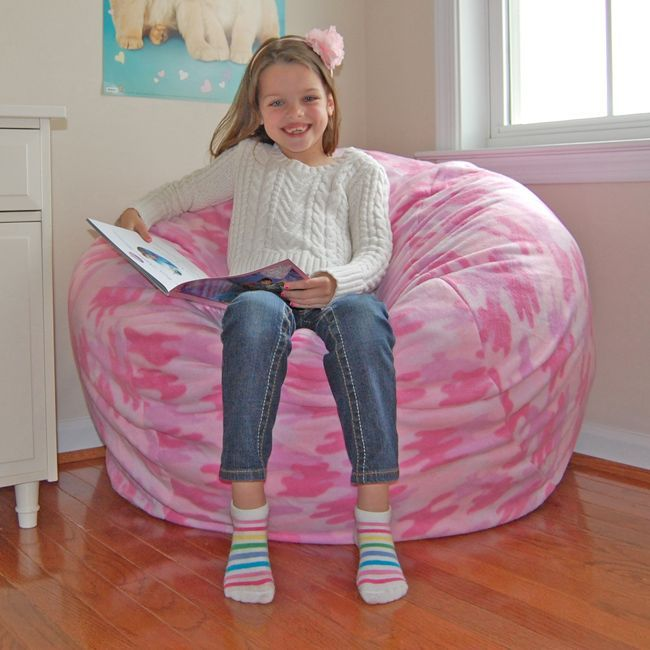 Ahh Products Pink Fleece Camouflage Washable Bean Bag Chair (pink  Camouflage) (Polyester)