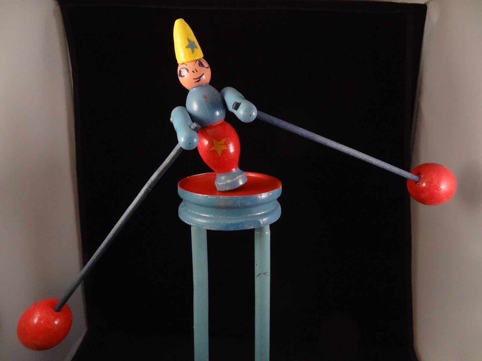 Details Sur Vintage Balanced Cirque En Bois Jouet Clown Boite D Origine Annees 30 Complet France Ssociated Afficher Le Titre D Origine Wooden Toys Wooden Vintage