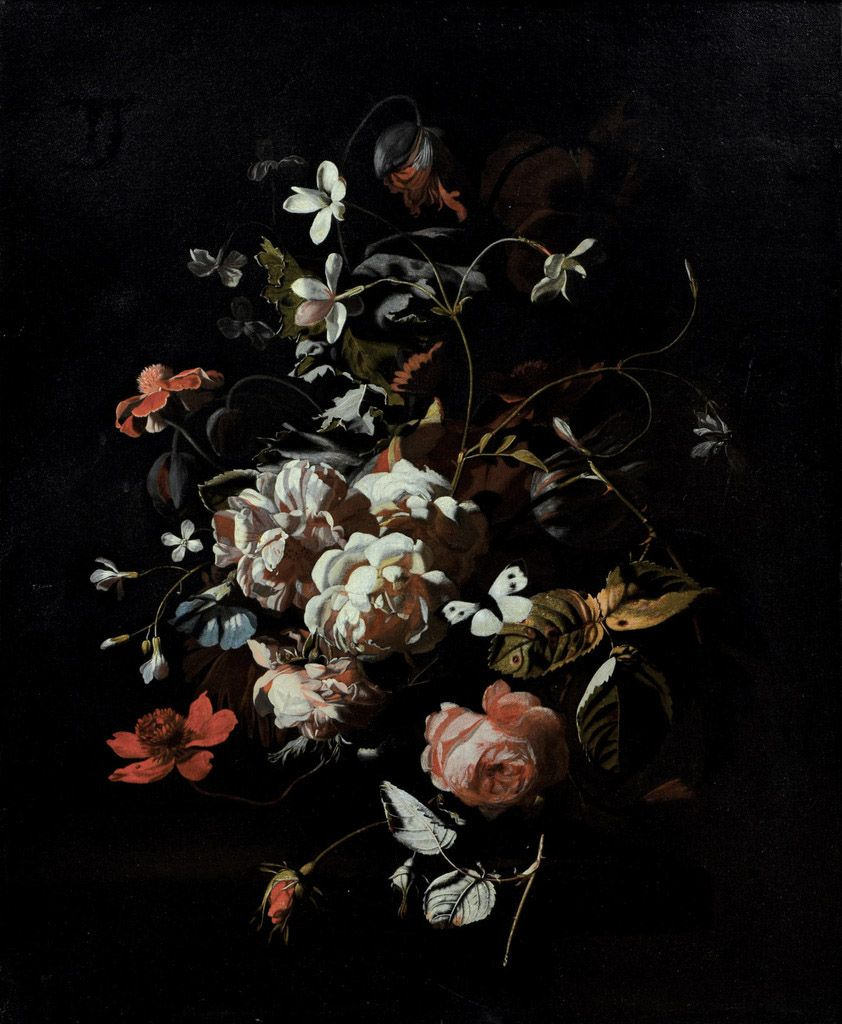 Simon Pietersz Verelst - Roses, tulips, carnations, a butterfly and other flowers in a vase on a table