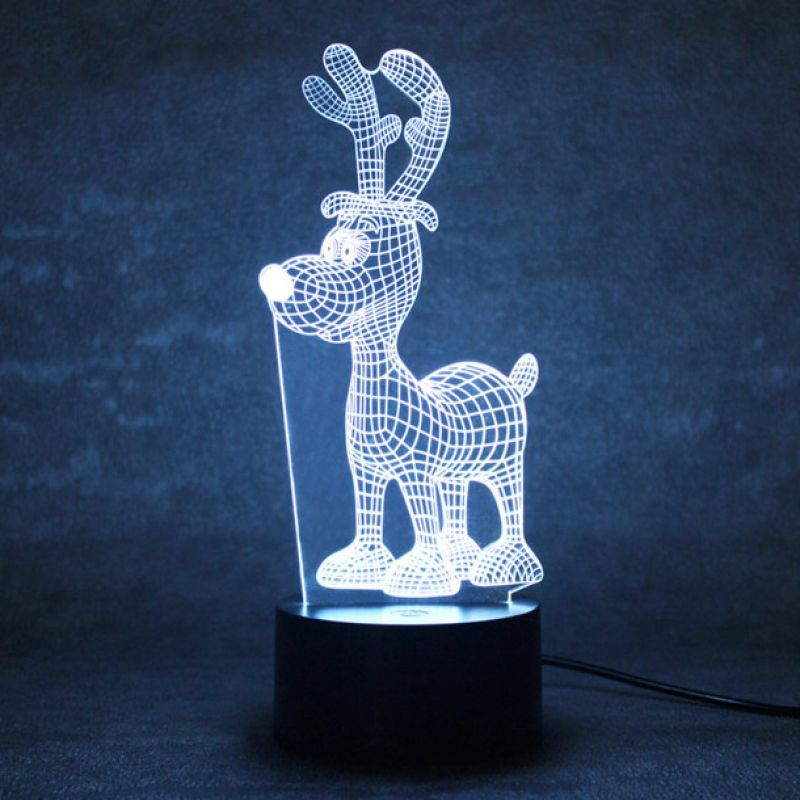 Veilleuse Led Lampe Led 3d Lampe Led Usb Lampe Table Lampe Bureau Decoration Creative Illusion Interrupteur Bouton Pou Led Night Light Night Light Deer Pattern