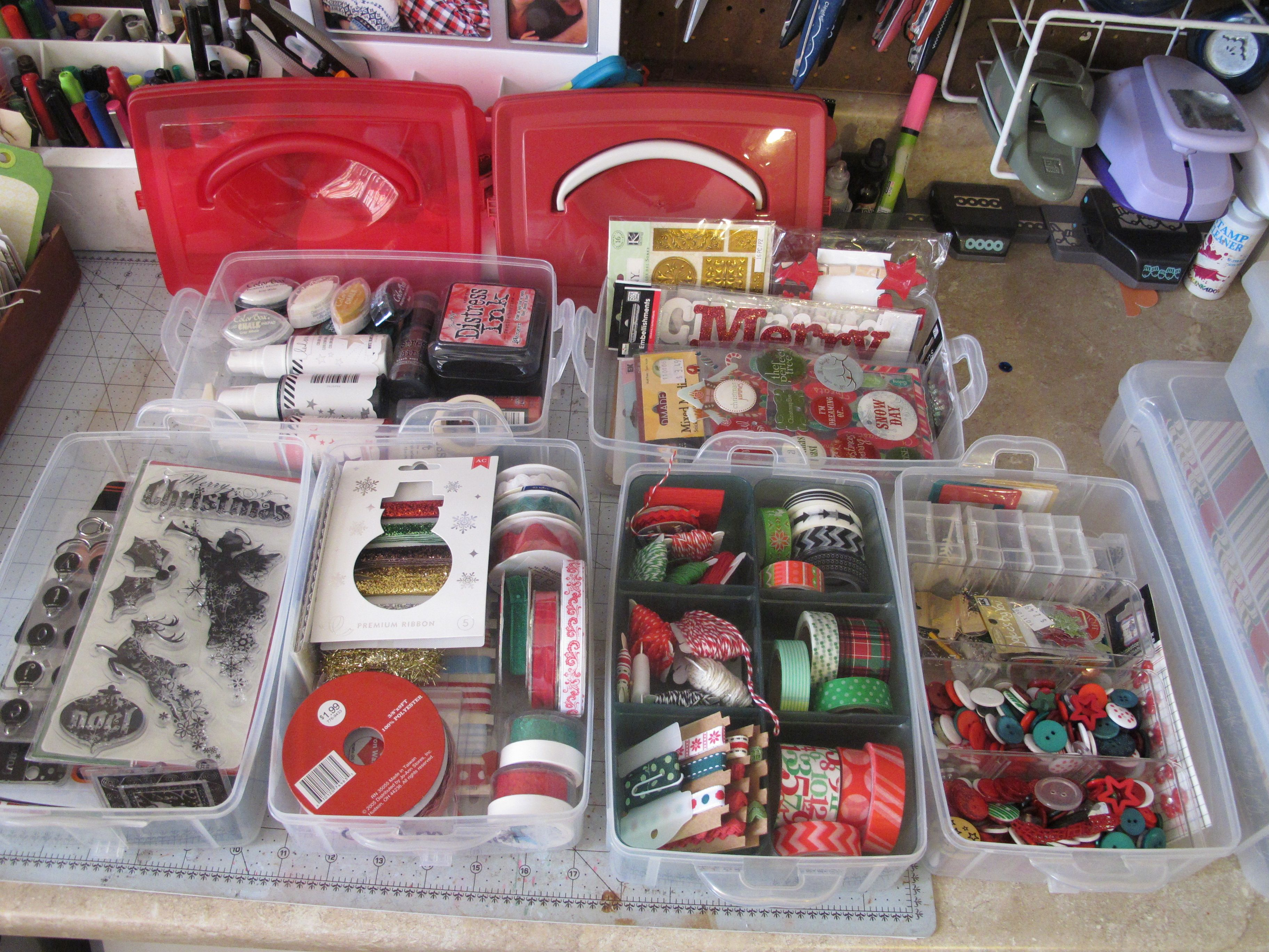 Organizing your embellishments for December Daily project. I used Snapware stackable containers.