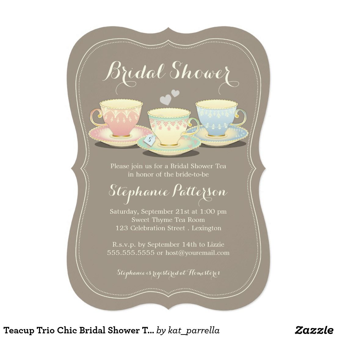 Teacup Trio Chic Bridal Shower Tea Party Invitation