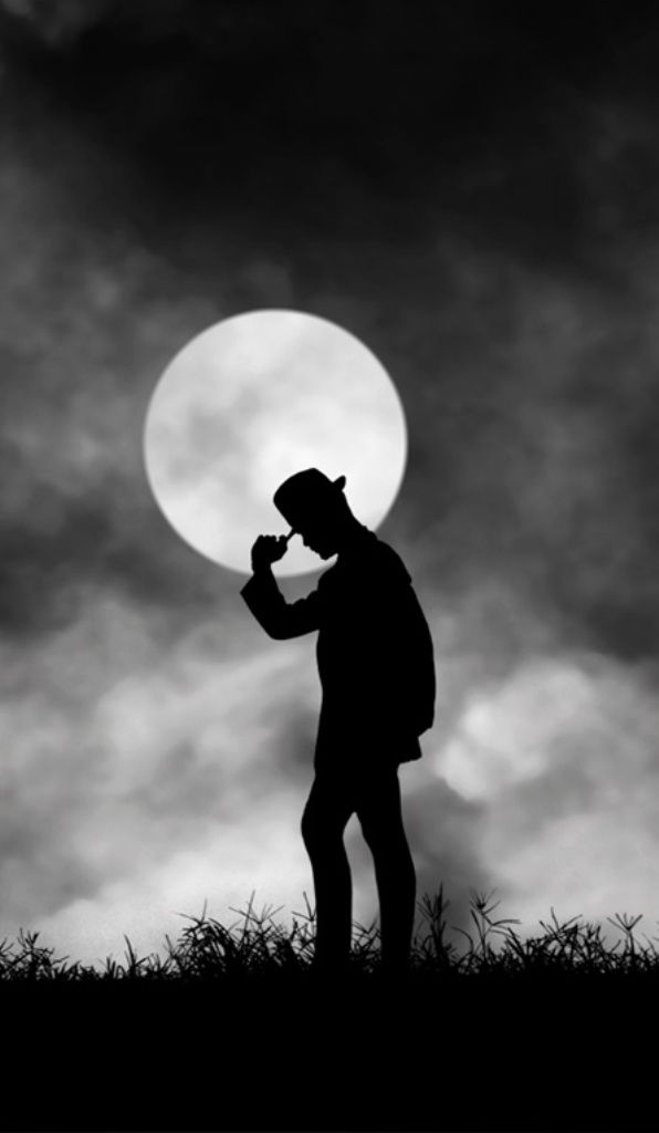 Clair De Lune By Hengki Lee Vintage Black And White Man In Full Dress Silhouette Moon Clouds Fall