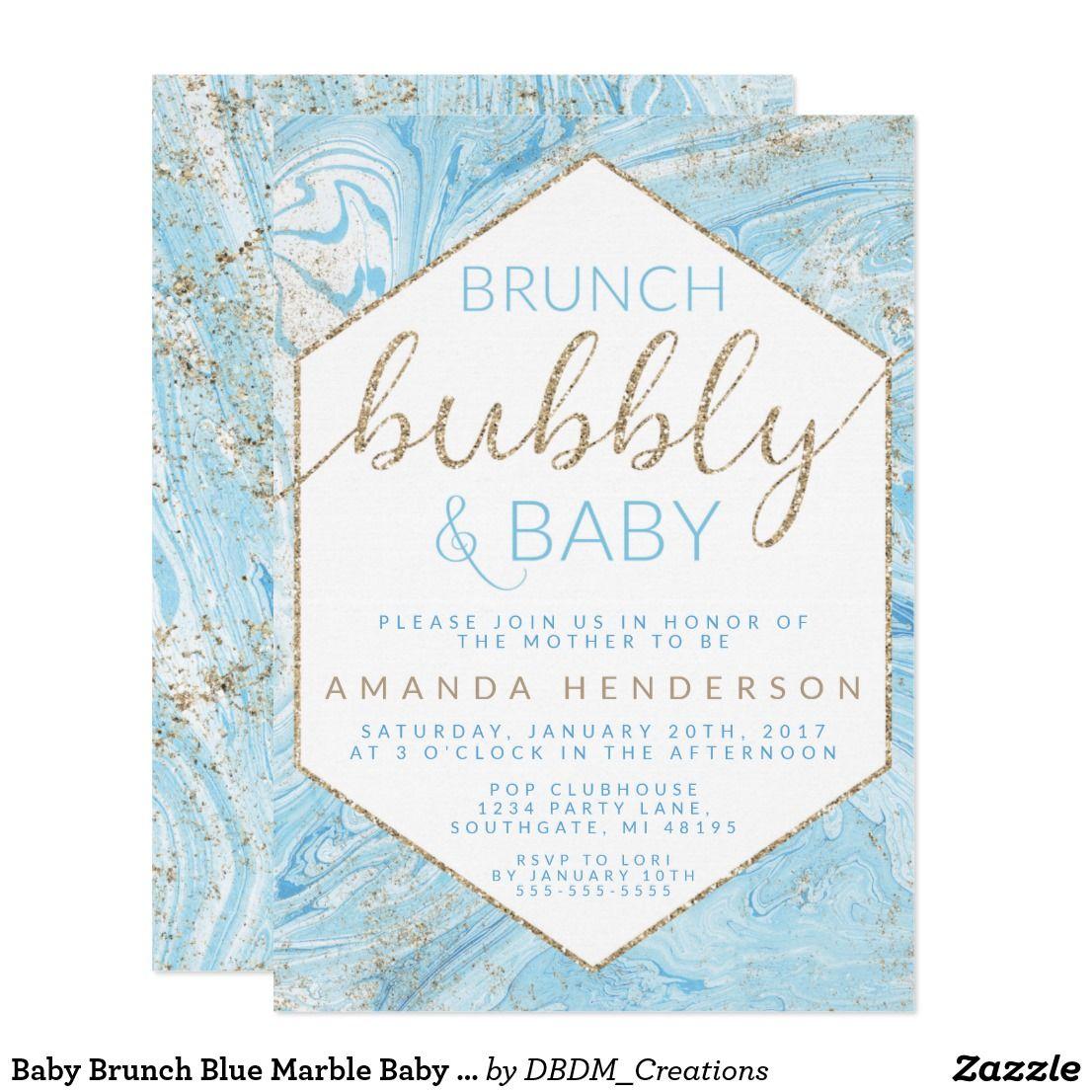 Baby Brunch Blue Marble Baby Shower Invitation   Shower invitations