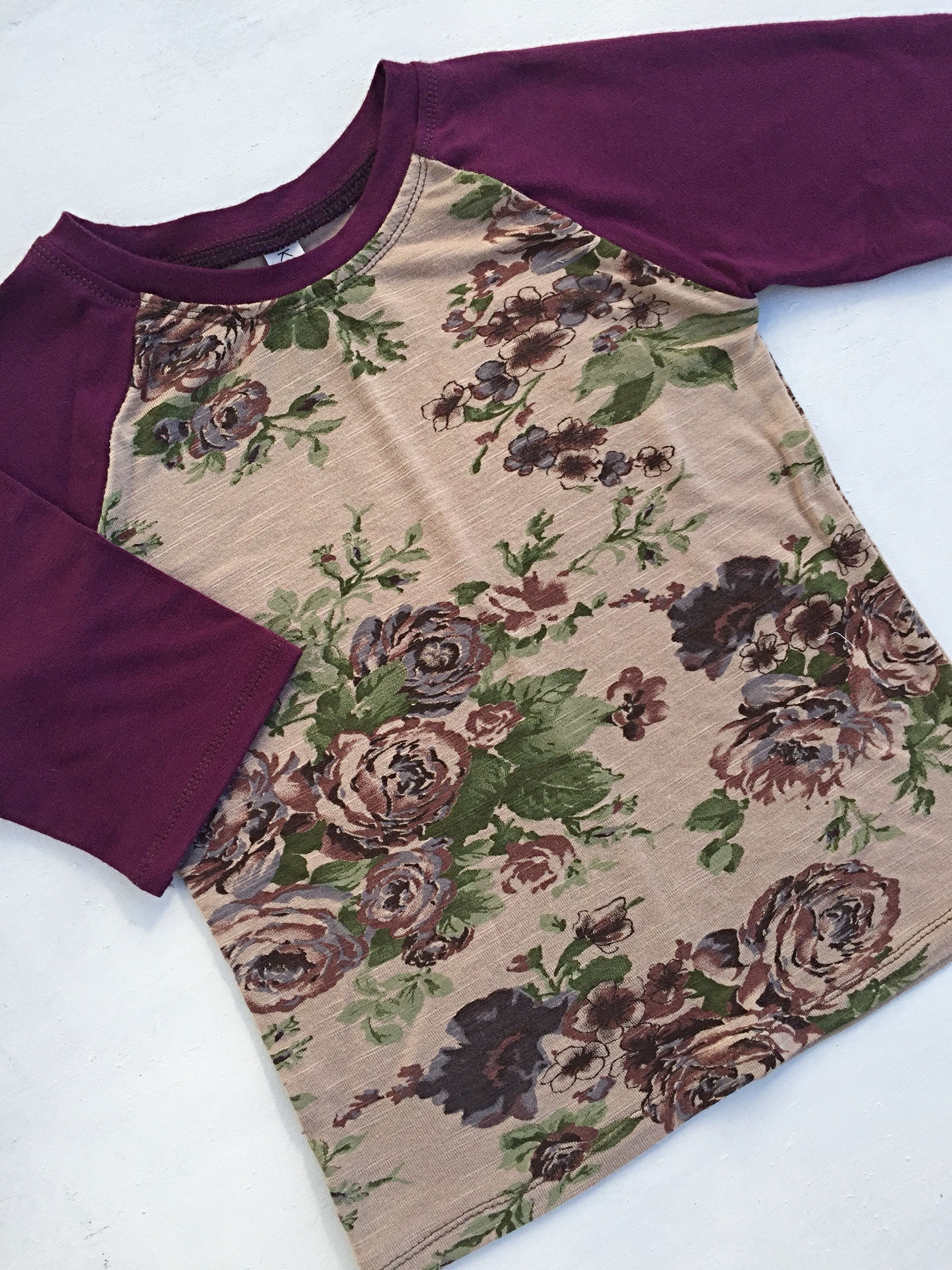 Floral raglan baby shirt cute baby clothes raglan shirt toddler baby