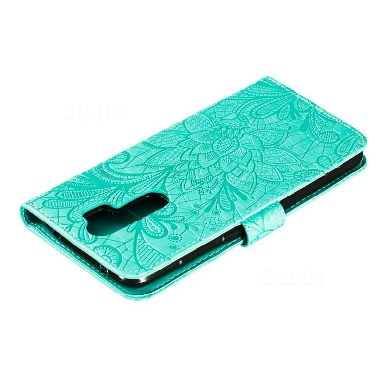 Intricate Embossing Lace Jasmine Flower Leather Wallet Case For Mi Xiaomi Redmi Note 8 Pro Green Xiaomi Redmi Note 8 Pro Cases Guuds Leather Wallet Case Leather Wallet Wallet Case