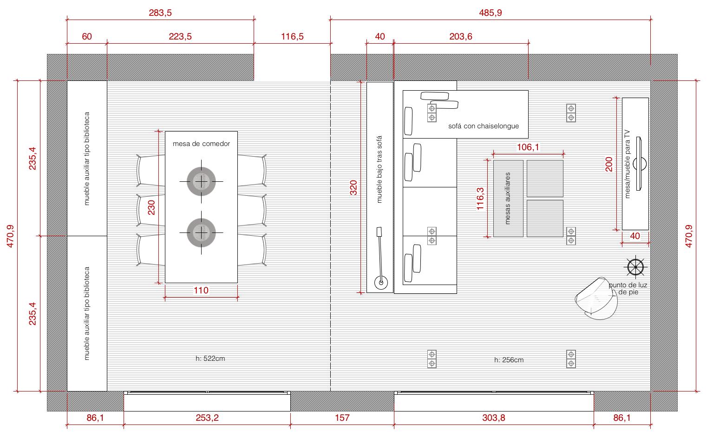 Plano de planta de distribuci n acotado del proyecto de un for Planos de cocina y comedor