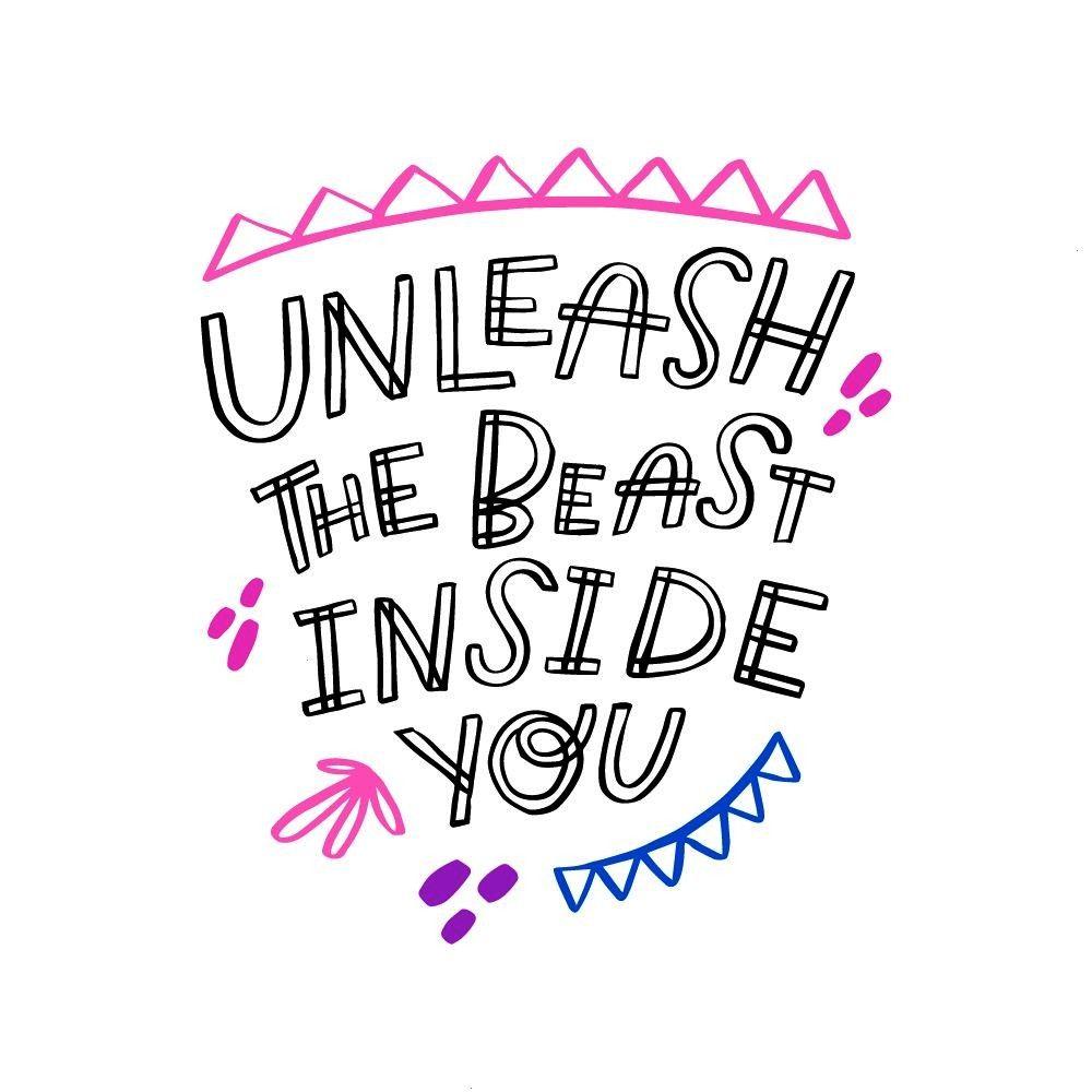 the beast inside you Lettering art by Orobin Art for social media and apparel Hand drawn brush lettering Inspirational quote Readytouse design Vector illustration Art for...