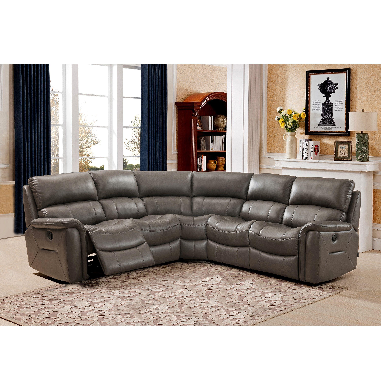 61d931895b8dbc Siri Premium Top Grain Gray Leather Lay Flat Reclining Sectional Sofa