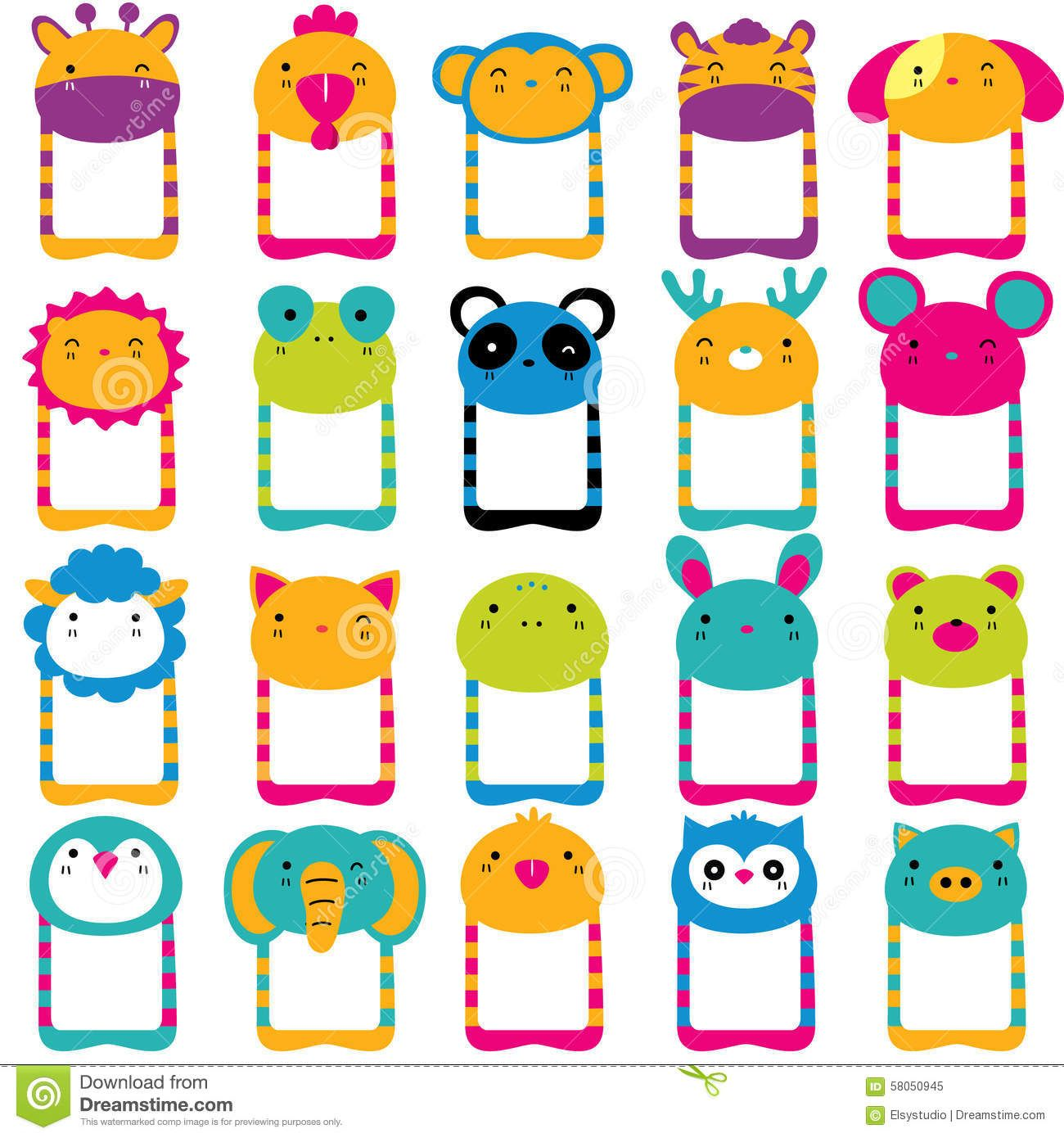 Ensemble Principal De Clipart Images Graphiques D Animaux Mignons Clip Art Mothers Day Crafts For Kids Animal Heads