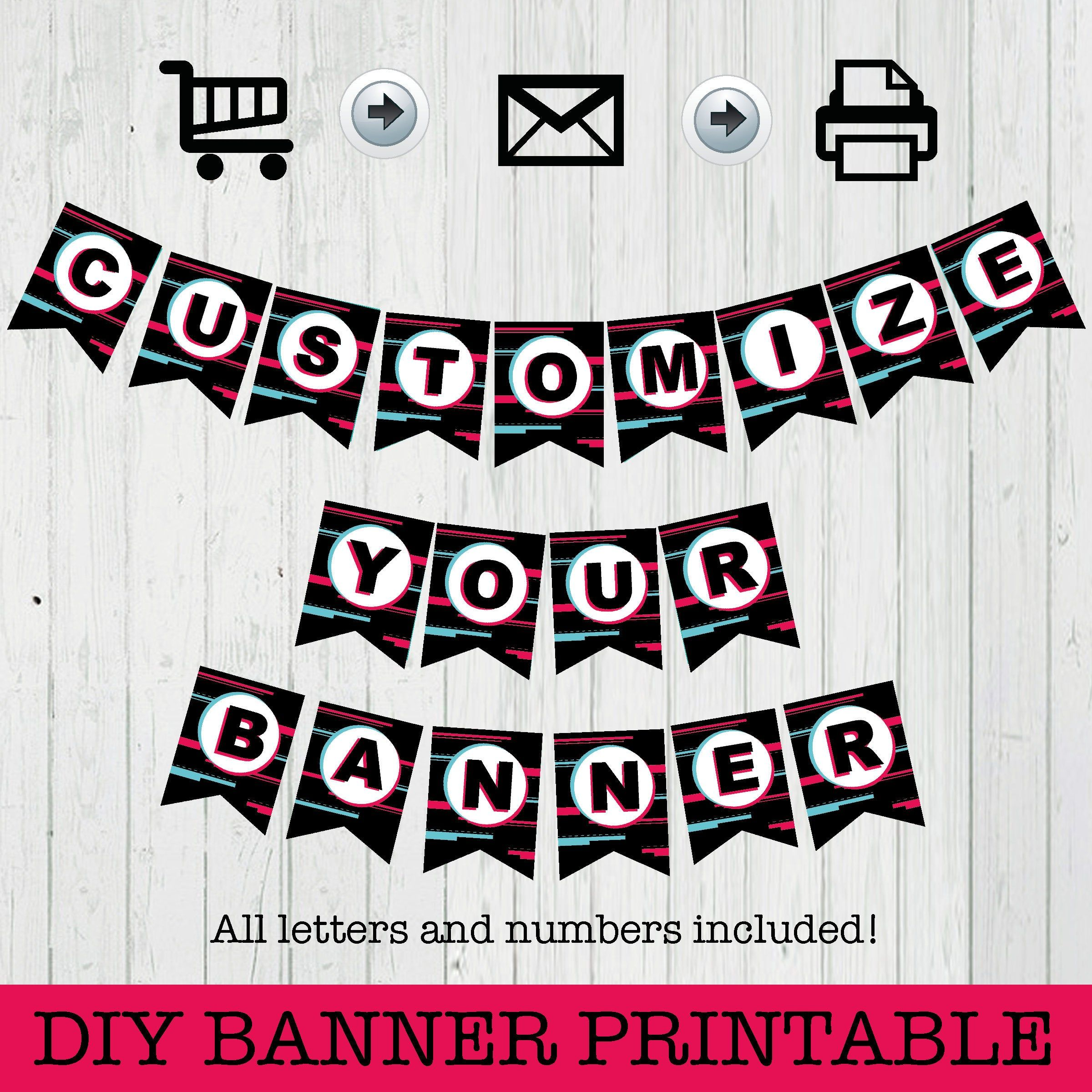 Diy Banner Printable Tiktok Instant Download Printables Etsy Printable Banner Happy Birthday Banner Printable Diy Banner