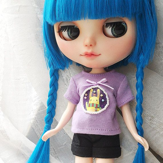 OOAK SA Blythe Bow Beaded stamp Purple T-shirt by SAEYECHIP