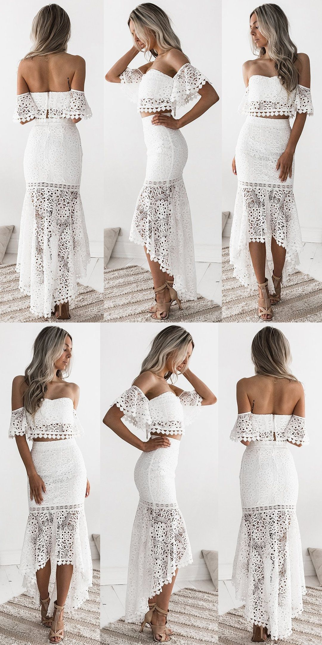 Two Piece White Lace Mermaid Prom Dresses Off The Shoulder Party Dresses For Teens Cheap High Lo Party Dress Classy Engagement Party Dresses Party Dress Teens [ 2160 x 1080 Pixel ]