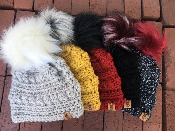 c877c4c7636 Bobble Hats. Crochet beanie. Baby beanie. Toddler hat. Mommy and me ...