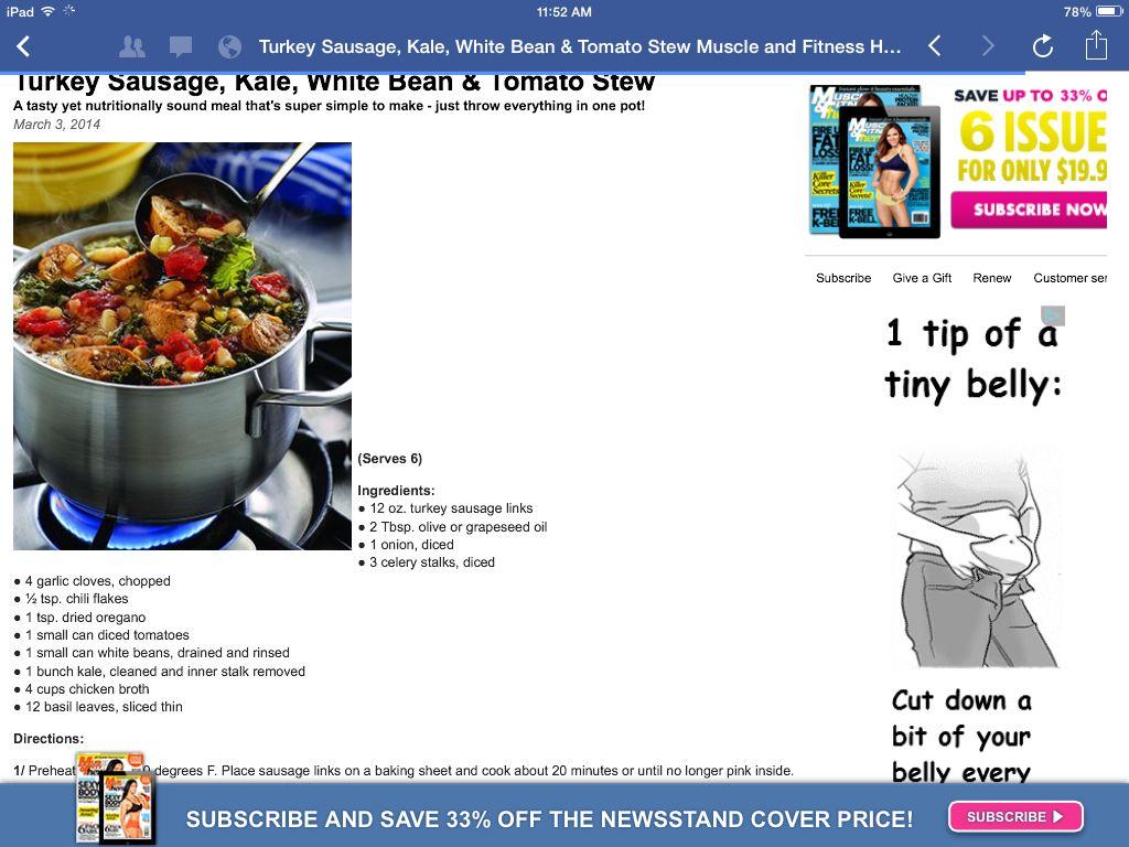Turkey sausage,kale and white bean stew