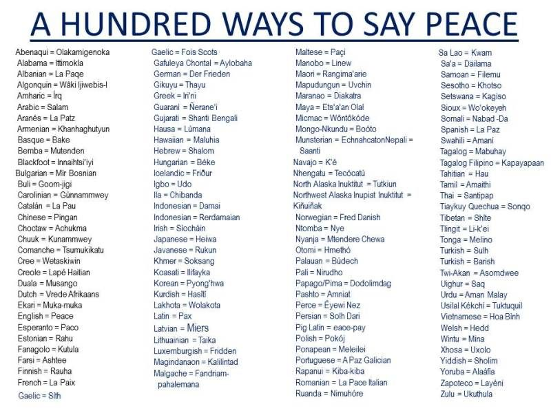 100 WAYS TO SAY PEACE Education Nerd Pinterest Peace - 100 resume words