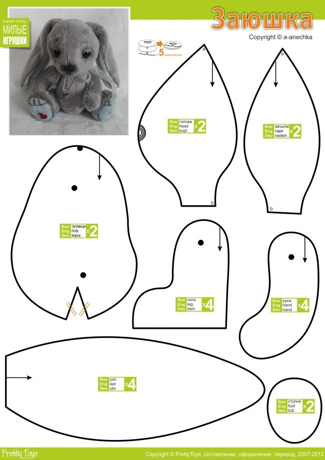 Zayushka rabbits pinterest plush pattern bunny for Bunny template for sewing